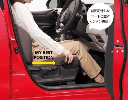 ヤリス運転席イージーリターン機能